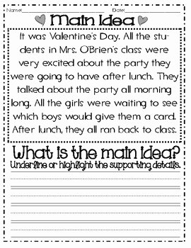 Main Idea Worksheet 2nd Grade Awesome Main Idea and Details Valentine S themed Mon Core