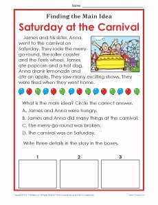 Main Idea Worksheet 2nd Grade Beautiful 1st or 2nd Grade Main Idea Worksheet About Carnivals