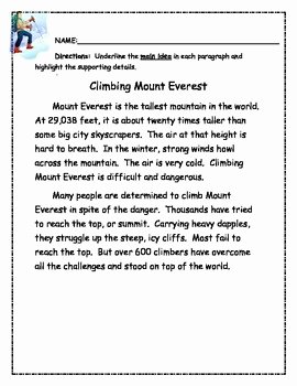 Main Idea Worksheet 2nd Grade Beautiful Main Idea and Supporting Details Independnt Practice