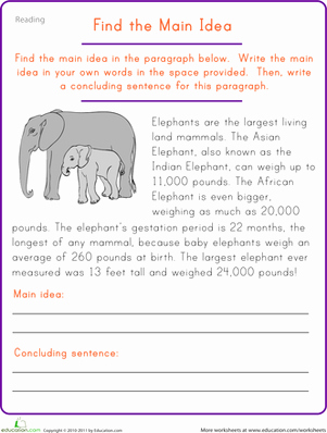 Main Idea Worksheet 2nd Grade Best Of Find the Main Idea Elephant Worksheet
