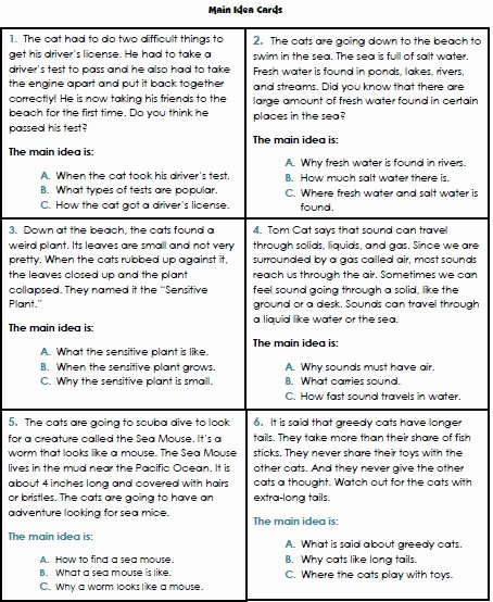 Main Idea Worksheet 2nd Grade Elegant Main Idea Worksheets 3rd Grade 1 Reading