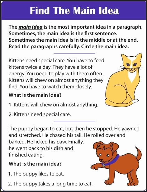 Main Idea Worksheet 2nd Grade Fresh Chsh Teach Reading Prehension 1st 3rd Grade