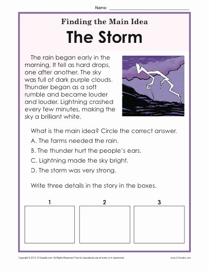 Main Idea Worksheet 2nd Grade Inspirational 1st or 2nd Grade Main Idea Worksheet About Storms