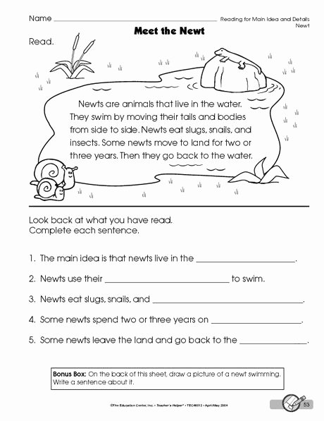 Main Idea Worksheet 2nd Grade Inspirational Pin On School Stuff