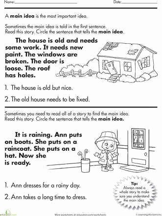 Main Idea Worksheet 2nd Grade Lovely Main Idea Worksheets 3rd Grade