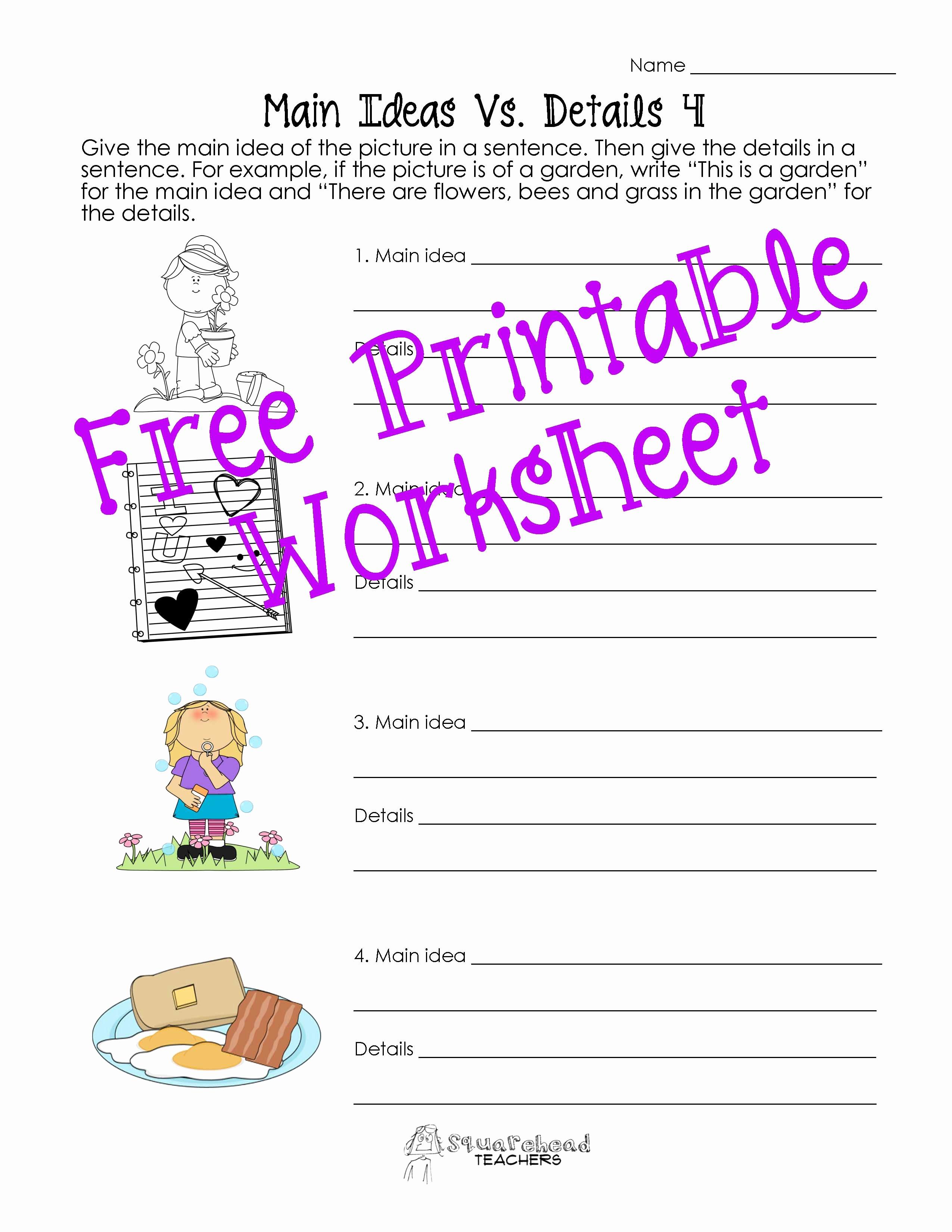 Main Idea Worksheet 2nd Grade Unique Main Idea Vs Details Worksheets Post 2