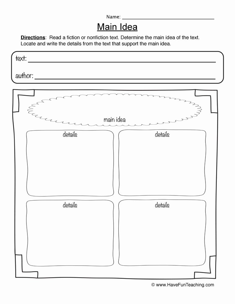 Main Idea Worksheet 4 Awesome Main Idea Worksheets