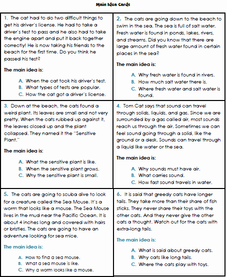 Main Idea Worksheet 4 Best Of Main Idea Worksheets 3rd Grade 1 Reading