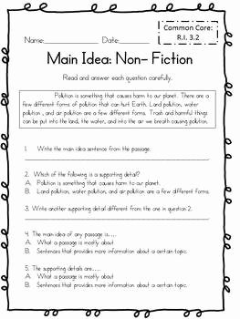 Main Idea Worksheet 4 Elegant Main Idea for Non Fiction Test 3rd Grade Mon Core