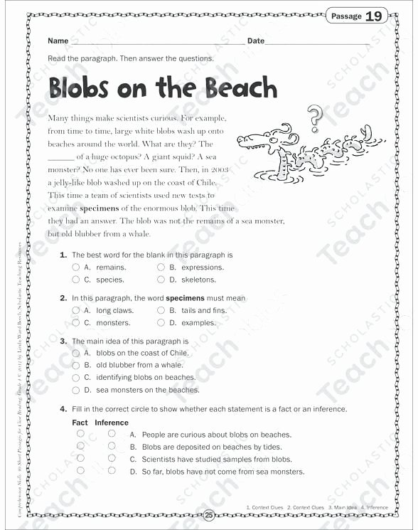 Main Idea Worksheet 4 Inspirational 4th Grade Main Idea Worksheets Multiple Choice