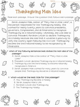 Main Idea Worksheet 4 New Main Idea and Best Title Worksheets Thanksgiving Test