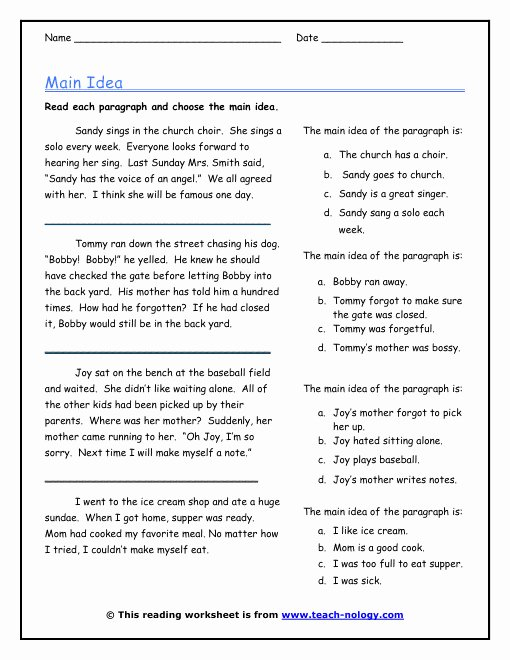 Main Idea Worksheet 4th Grade Beautiful Main Idea Worksheets 4th Grade