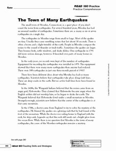 Main Idea Worksheet 4th Grade Inspirational the town Of Many Earthquakes Main Idea and Details 5th