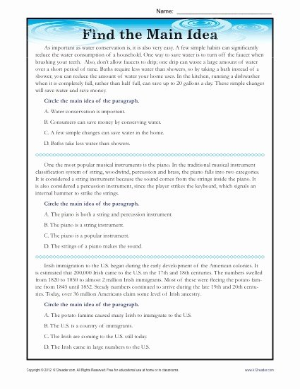 Main Idea Worksheet 4th Grade Luxury High School Main Idea Reading Passage Worksheet