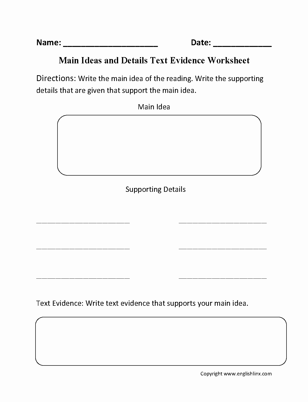 Main Idea Worksheet 4th Grade Luxury Main Idea Worksheets 4th Grade