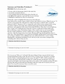 Main Idea Worksheet 4th Grade Luxury Summary and Main Idea Worksheet 1 Worksheet for 4th 8th