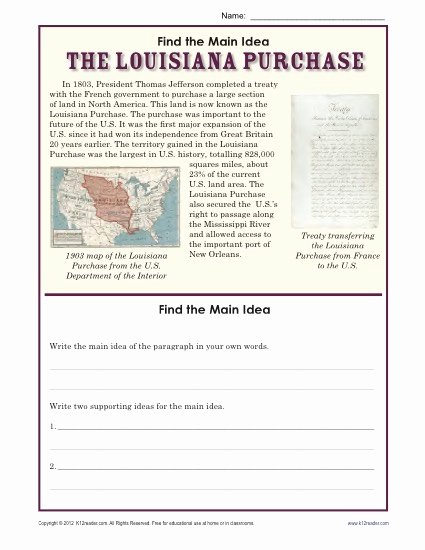 Main Idea Worksheet 4th Grade New 5th Grade Main Idea Worksheet About the Louisiana Purchase