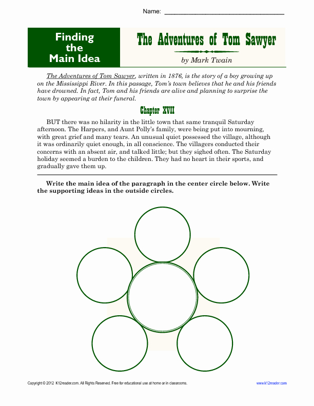 Main Idea Worksheet 5 Awesome Middle School Main Idea Worksheet About tom Sawyer