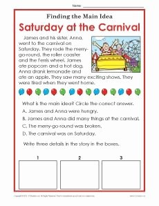 Main Idea Worksheet 5 Best Of 1st or 2nd Grade Main Idea Worksheet About Carnivals