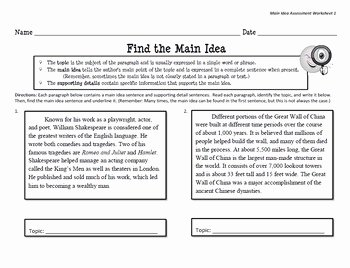 Main Idea Worksheet 5 Best Of Main Idea Match & Worksheets by Kristin Boone