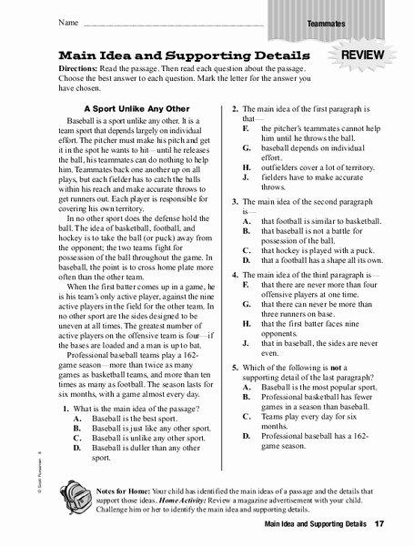 Main Idea Worksheet 5 Elegant Main Idea and Supporting Details Worksheet for 4th 6th