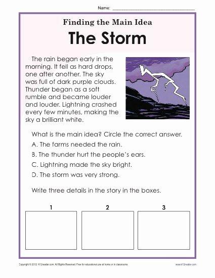 Main Idea Worksheet 5 Fresh 1st or 2nd Grade Main Idea Worksheet About Storms