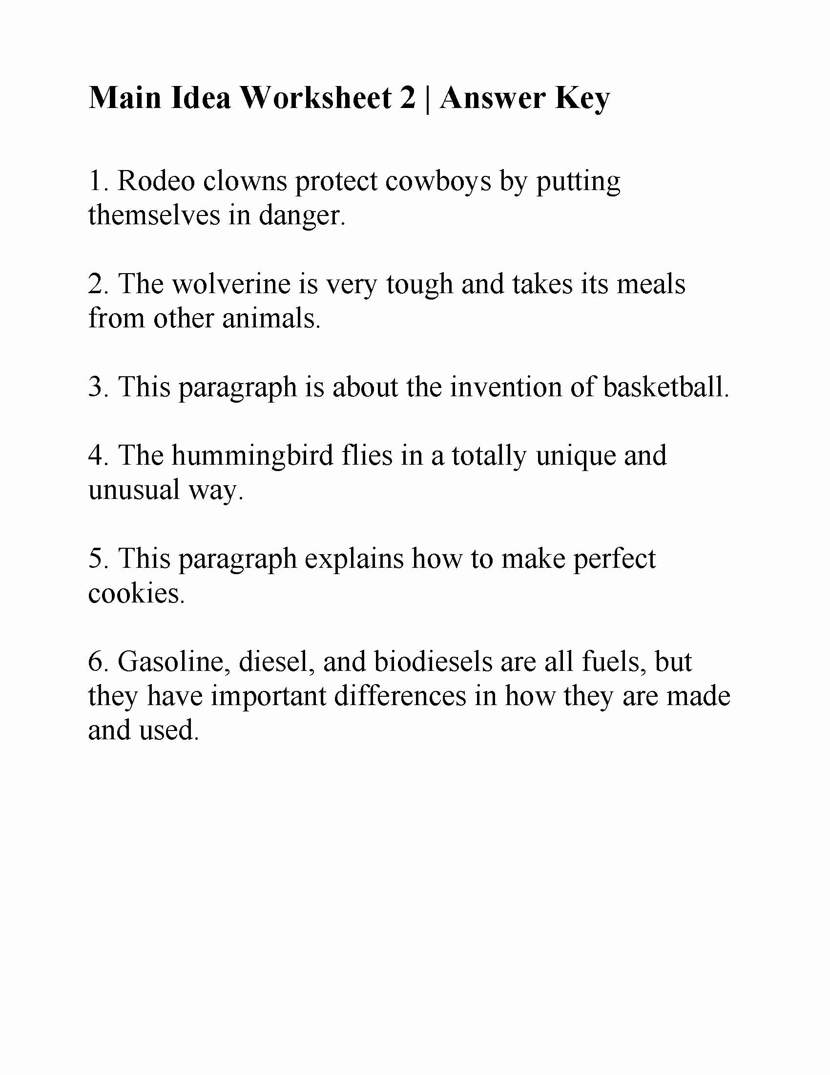 Main Idea Worksheet 5 Fresh Main Idea Worksheet 2