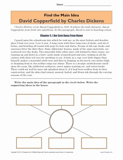 Main Idea Worksheet 5 Lovely High School Main Idea Worksheet About the Book David