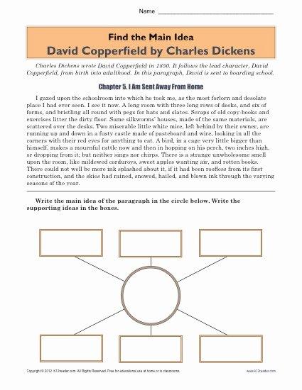 Main Idea Worksheet 5 Lovely High School Main Idea Worksheet About the Book David