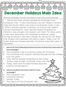 Main Idea Worksheet 5 Lovely Main Idea and Best Title Worksheets December Holidays