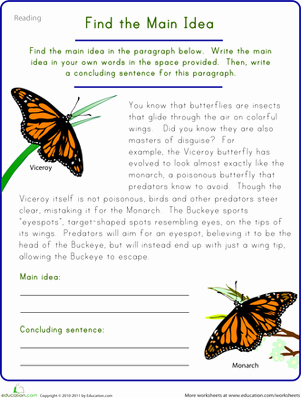 Main Idea Worksheet 5 Luxury Find the Main Idea Viceroy butterfly
