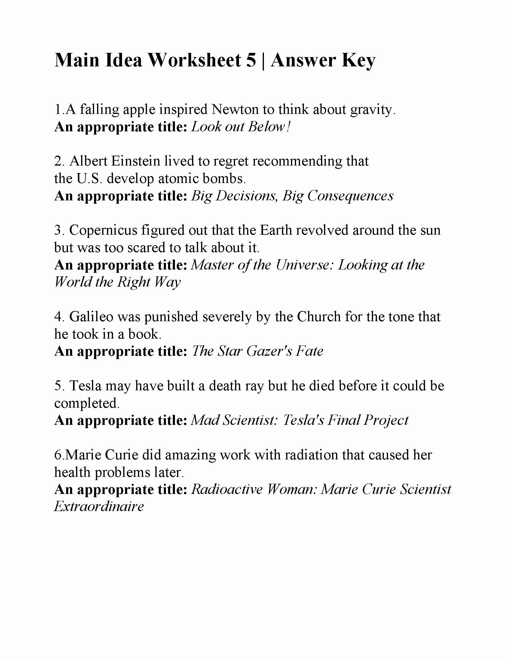 Main Idea Worksheet 5 Luxury Main Idea Worksheet 5
