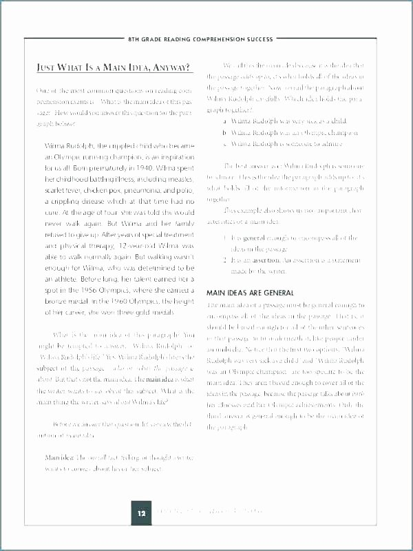Main Idea Worksheet 5 Luxury Main Idea Worksheets Grade 5