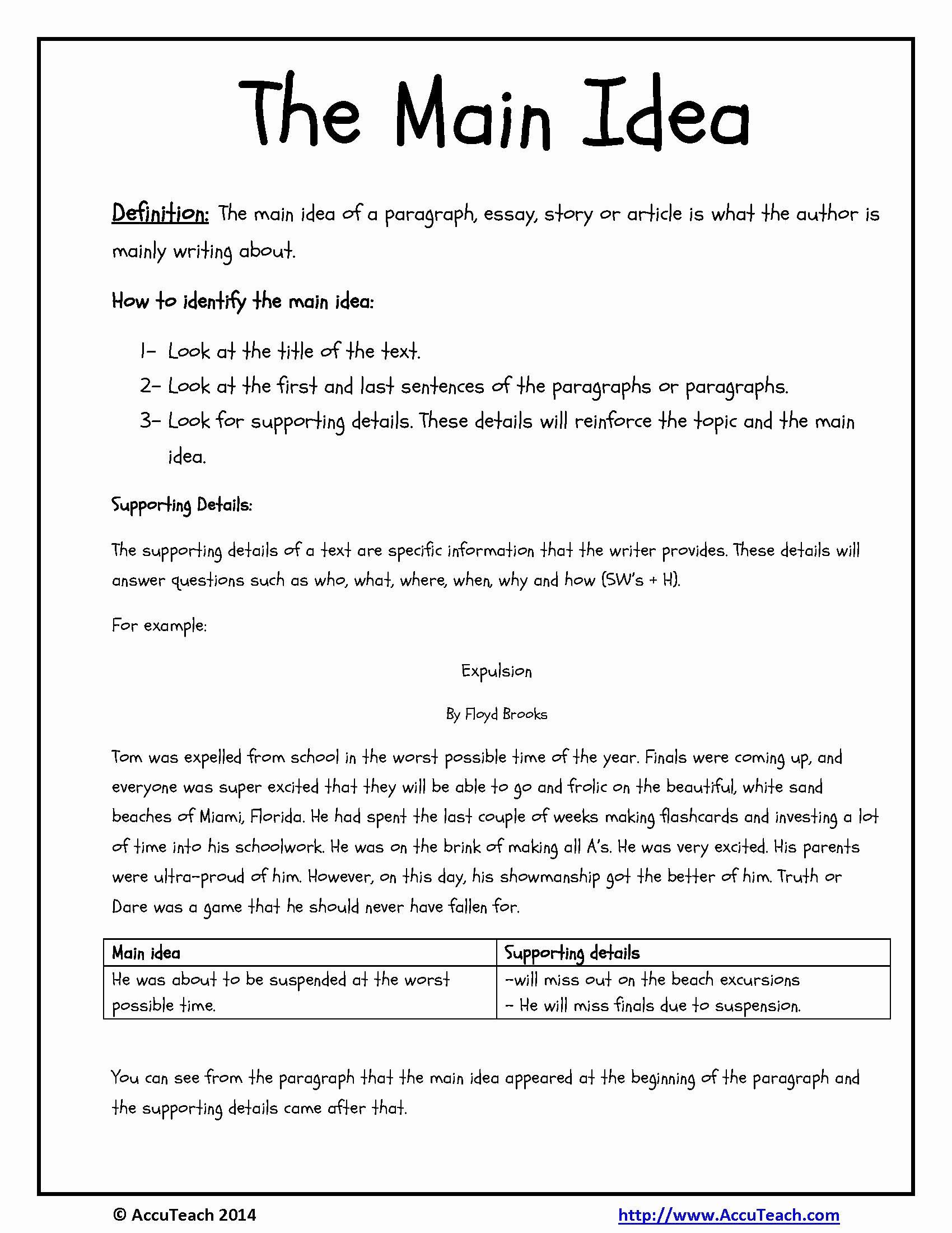 Main Idea Worksheet 5 Unique Reading Prehension Strategy Main Idea