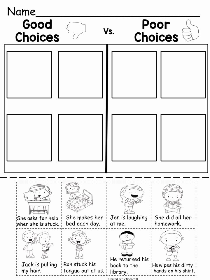 Making Good Choices Worksheet Beautiful Good Choices Vs Poor Choices Thumbs Up Thumbs Down