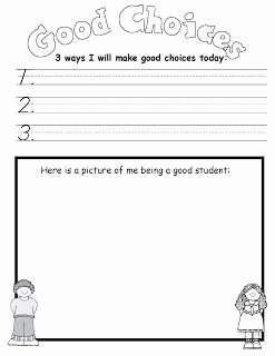 Making Good Choices Worksheet Fresh Writing About the Good Choices that are Going to Be Made