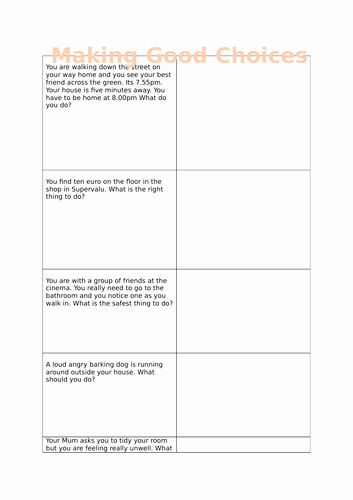 Making Good Choices Worksheet Inspirational A Worksheet Posing Questions On How to Make Good Choices