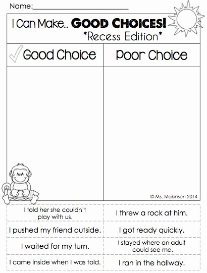 Making Good Choices Worksheet Lovely September Printables First Grade Literacy and Math