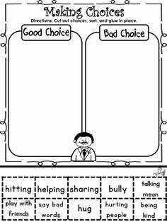 Making Good Choices Worksheet New Classroom Corner On Pinterest