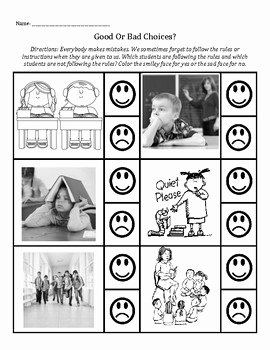 Making Good Choices Worksheet Unique Decision Making and Following the Rules Good or Bad