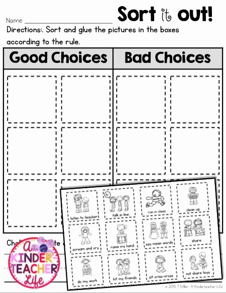 Making Good Choices Worksheet Unique Good Choice Bad Choice sort