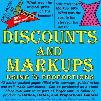 Markup and Discount Worksheet Awesome Discounts and Markups Sale Price original Price Markup
