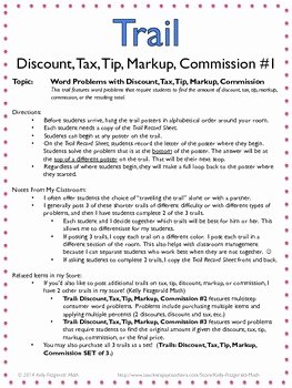 Markup and Discount Worksheet Beautiful Trail Discount Tax Tip Markup Mission 1 by Kelly