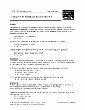 Markup and Discount Worksheet Beautiful Vcc Lc Worksheets Hospitality Management Business Math