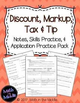 Markup and Discount Worksheet Best Of Discount Markup Tax & Tip Notes Practice and