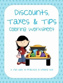 Markup and Discount Worksheet Best Of Percent Discount Taxes and Tips Coloring Worksheet