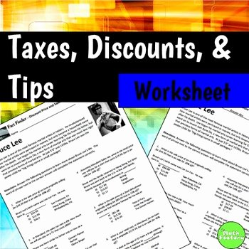 Markup and Discount Worksheet Best Of Sale Price Sales Tax Percent F Fact Finder Worksheet by