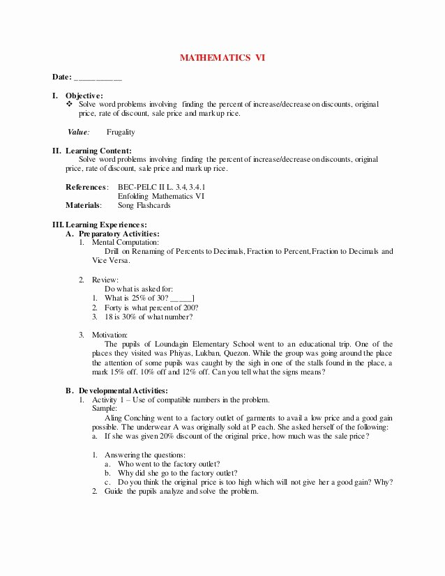 Markup and Discount Worksheet Fresh 4th Grading Mathematics Vi