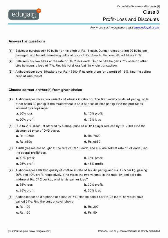 Markup and Discount Worksheet Inspirational Year 8 Math Worksheets and Problems Profit Loss and