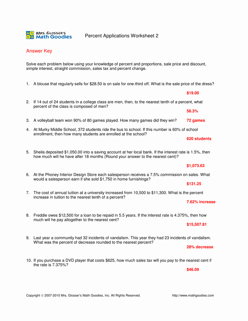 Markup and Discount Worksheet Luxury Sales Tax and Discount Worksheet Answer Key the Best